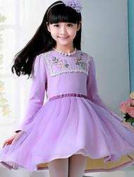 Menina de Vestido Floral Misto de Algodão Inverno Violeta