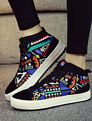 Women's Shoes Canvas Flat Heel Comfort / Round Toe Fashion Sneakers Outdoor / Casual Black / Multi-color