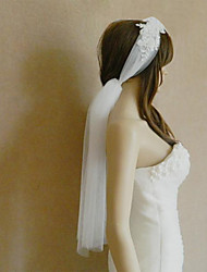 Wedding Veil One-tier Blusher Veils / Fingertip Veils / Communion Veils Cut Edge Tulle Ivory