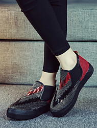 Women's Shoes Glitter Platform Platform / Comfort / Round Toe Loafers / Slip-on Outdoor / Casual Black / Red