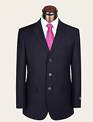 Men's Single Breasted Three-buttons Bridegroom Groomsmen Formal Wool 2 Pieces Dark Blue Suits Standard