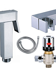 Thermostatic Mixer Valve Handheld Square Brass Bath Bidet Spray Douche Shattaf Bathroom Set