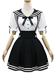 One-Piece/Dress Classic/Traditional Lolita Lolita Cosplay Lolita Dress White / Black Patchwork Short Sleeve Short Length Dress For Women