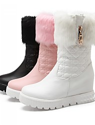 Women's Shoes Leatherette Flat Heel Platform / Fashion Boots Boots Dress / Casual Black / Pink / White
