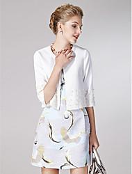 Sheath/Column Mother of the Bride Dress - White / Print Short/Mini Half Sleeve Polyester