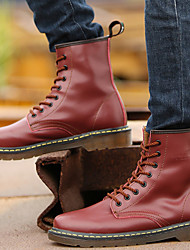 Women's Shoes Leather Flat Heel Riding Boots / Motorcycle Boots Boots Outdoor / Athletic / Casual Black / Red