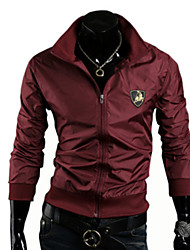Men's Round Coats & Jackets , PU Long Sleeve Casual Pocket Winter Lambda