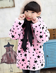 Girl's Pink / White Jacket & Coat , Cartoon Polyester Winter