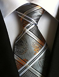 Men Wedding Cocktail Necktie At Work Gray White Pattern Tie