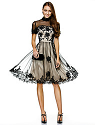 Cocktail Party / Company Party Dress A-line High Neck Knee-length Tulle with Appliques / Lace