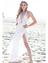 Women's Elegant Chiffon Halter Long Beach Dress
