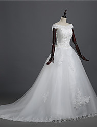 A-line Wedding Dress - White Asymmetrical Sweetheart Lace / Tulle with Train