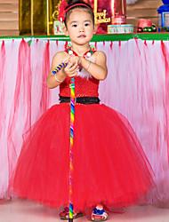 Handwork Dress Ball Gown Ankle-length Flower Girl Dress - Tulle / Polyester Sleeveless