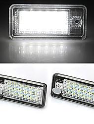 2 branco levou 18 3528 SMD luzes da matrícula de lâmpadas lâmpadas para audi a3 a6 4f 8p