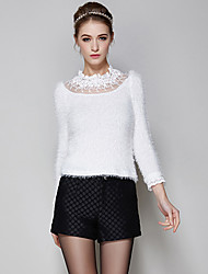 Women's Solid / Patchwork / Lace White Pullover , Casual / Lace Long Sleeve