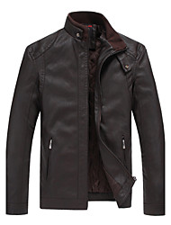 In the autumn of 2015 new mens leather jacket jacket thick tide business leisure slim short collar.