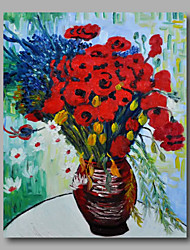 Ready to hang Stretched Hand-Painted Oil Painting Canvas Van Gogh repro Vase with Daisies and Poppies One Panel