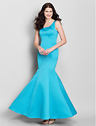 Ankle-length Satin Bridesmaid Dress Trumpet / Mermaid Scoop with Bow(s)