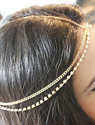 Women Minimalist Handmade Full of Crystal Chain Double Hair Band Hair Accessories