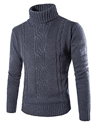 Men's High-Neck Sweaters , Cotton Blend Long Sleeve Casual Fashion Winter / Fall GF
