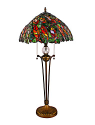 Jeweled Leaf Tiffany Style Table Lamp Stained Glass Indoor Decorative Lighting Fixture