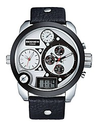 Men's Square Dial Analog Watch with Date Display leather watch man watch