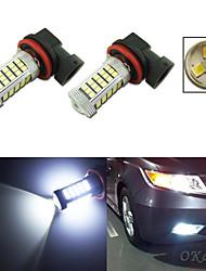 2pcs ampoule de voiture blanc 60 SMD 2835 3 SMD 3535 conduit h11 brouillard lampe de lumière sauvegarde de pgj192 DC 12V -24V