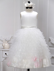 A-line Ankle-length Flower Girl Dress - Satin / Tulle Sleeveless Jewel with Flower(s) / Tiers