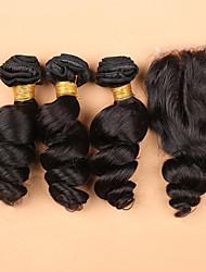 Trama do cabelo com Encerramento Cabelo Malaio Ondulação Larga tece cabelo
