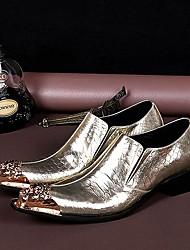Золотистый Мужская обувь Свадьба / Для вечеринки / ужина Кожа Лоферы