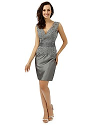 Sheath / Column Mother of the Bride Dress Knee-length Satin with Appliques / Beading / Crystal Detailing / Sequins