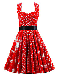 Women's Red White Mini Polka Dot Dress , Vintage Halter 50s Rockabilly Swing Dress