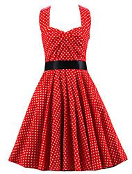 De las mujeres Línea A Vestido Vintage A Lunares / Bloques Hasta la Rodilla Halter Algodón