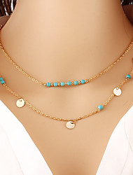 Bohemian Fashion Jewelry Vintage Chain Multi Layer Statement Necklaces Turquoise Round Necklace For Womens Chain Jewelry Gift