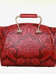 Women Patent Leather Barrel Shoulder Bag / Tote - Blue / Green / Red