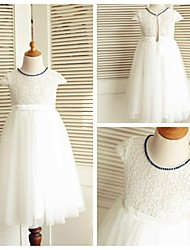 A-line Knee-length Flower Girl Dress - Lace / Tulle Short Sleeve Jewel with