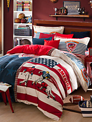 Red and white print duvet cover Sets 100% Cotton Bedding Set Queen/Double/Full Size