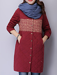 Winni Women's Floral / Solid Color Blue / Red / Gray Coats & Jackets , Casual High-Neck Long Sleeve