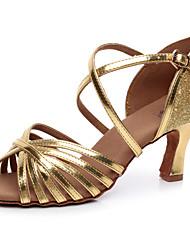 Sparkling Glitter Women's Dance Shoes Latin / Salsa / Samba Leatherette Customized Heel Gold