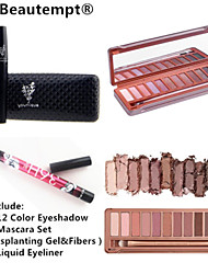 12 Colors Professional Urban Decay Eyeshadow Palette&Black Waterproof Eye Lash Mascara Set&2X Waterproof Liquid Eyeliner