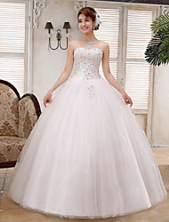 Ball Gown Wedding Dress - White Floor-length Straps Lace / Satin / Tulle