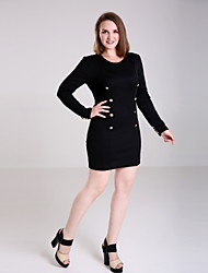 Women's Plus Size Double-breasted V-neck Long Sleeve Dresses
