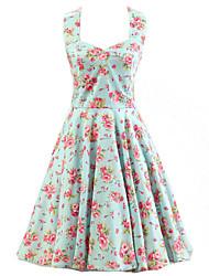 De las mujeres Línea A Vestido Vintage Floral Hasta la Rodilla Halter Algodón