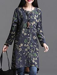 Winni Women's Print Blue / Multi-color Coats & Jackets , Casual Round Long Sleeve