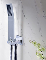 Modern Square Solid Brass Chrome Hand Held Shower Heads With Wall Connector and Hose Set For Bathroom