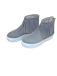 Women's Shoes Suede Flat Heel Round Toe Boots Casual Gray