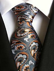 Men Wedding Cocktail Necktie At Work Gray Orange Tie
