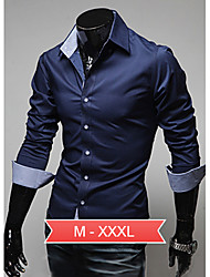 Men's Black/Blue/White Plus Size Basic Shirts