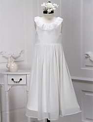 A-line Tea-length Flower Girl Dress - Chiffon Scoop with Pleats