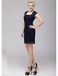 Corta / Mini Encaje Vestido de Dama de Honor Funda / Columna Cuadrado con Encaje